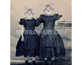 Cat Art Print, Cats in Clothes Mixed Media Collage Wall Decor 5x7 or 8x10 Inch Print, Kitten Girls, Gift for Sister