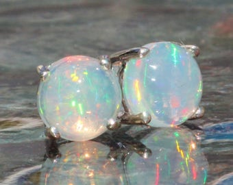 GORGEOUS Small 6m Welo Opal Round Stud Earrings,Genuine Ethiopian Opal Silver Stud,Minimalist Gemstone Post,October Birthstone,Gift For Her