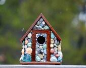 Gift for grandma,Stone Birdhouse,cottage,mosaic birdhouse,shabby chic,farmhouse decor,country garden,garden decor,stone birdhouse,rose decor