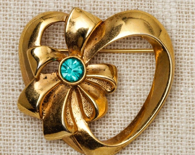 Heart and Bow Brooch Vintage Gold Avon Teal Rhinestone Broach Vtg Pin 7T