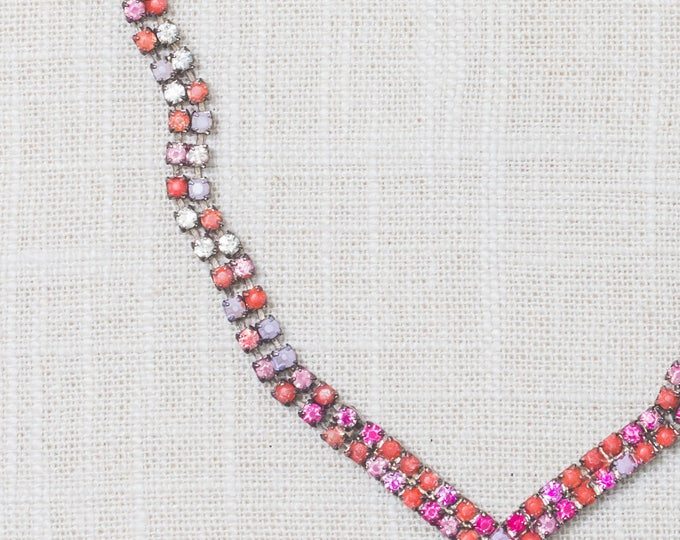 Handcrafted Necklace Pink Lilac Coral Hand Painted Ombre Rhinestone Chevron 7HH