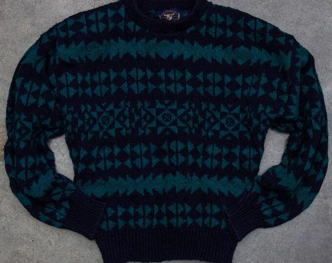 Oversized Geometric Sweater Unisex Navy Blue & Green Vintage Winter Jumper Size XL 7NN