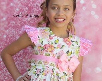 Girls Easter Dress-Pink Blooms-Sizes 2-10