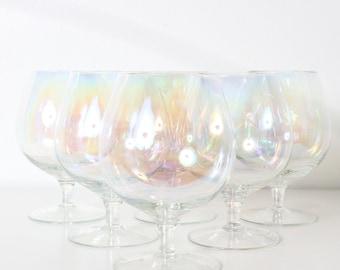 Vintage Dorothy Thorpe Mid Century Bubble Clear Iridescent Wine Glasses Barware Set of 6