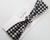 Black and White Buffalo Plaid Head Scarf - Headband