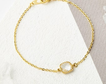 Dainty Bridesmaid Bracelet - Bridesmaid Gift, Bridesmaid Jewellery, Gold Bracelet, Gifts for her, Bridal Bracelet, Wedding Jewellery, Pretty