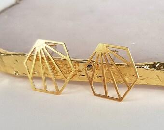 Geometric Earrings - Gold Ear Studs, Geometric Stud Earrings, Hexagon, Minimalist Earrings, Hexagon Earrings, Minimalist Jewellery