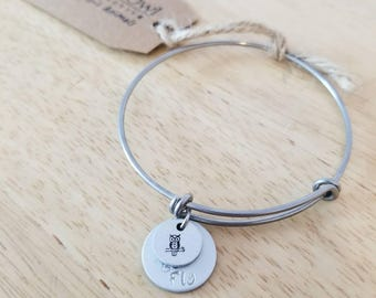 """Indie Owl's Spirit Animals- OWL Handstamped charm bracelet with """"Be Wise Be Fly"""" pendant & Story Tag"""