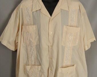 vintage Guayabera Shirt. Beige Cuban Cigar Shirt. Embroidered Mexican Wedding Shirt. Summer Island Shirt. Big & Tall Mens Size 3X Shirt XXXL