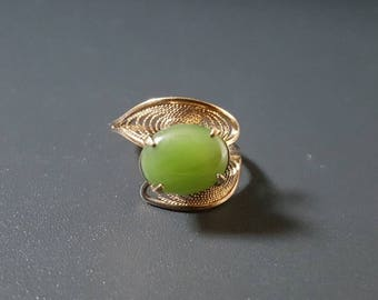 Jade Ring Sterling Silver & Nephrite Green Jade Size 6 Adjustable