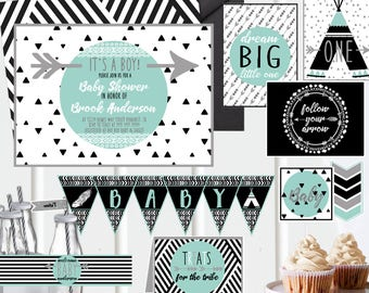 Baby Shower Printable Invites and Decor - Black White - Geometric Wild Tribal - Baby Shower Invitations and Decorations - Instant Download