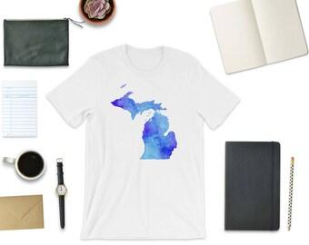 Michigan Blues, Michigan Tee, Michigan T-Shirt, Michigan Shirt, Michigan Watercolor, Michigan Map, Unique Michigan Tee, Michigander Gift