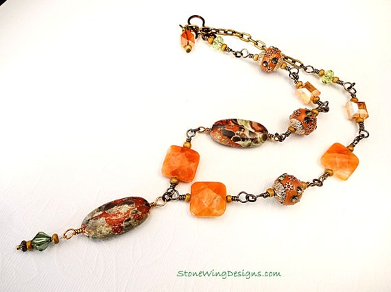 Mushroom Rhyolite Jasper and Orange Calcite Necklace