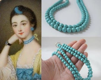 18th Century Turquoise Necklace, Eighteenth Century Jewelry, Rococo Necklace, Marie Antoinette Style, 1700s Jewelry, Turquoise Bead Necklace