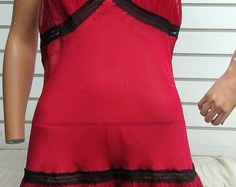 Deep red slip dress Black Lace trin Size XL  #403