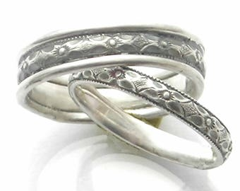 Wide or Narrow Patterned Wedding Bands, Sterling, Bella Epoch, Edwardian, Victorian, Renaissance, Handmade, His and Hers, Unisex, Oxidized