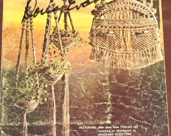 Vintage 1970s Macrame Reflections Craft Instructions Book by Thelma Lee Plant Pot Hangers Mod Rustic Decor 15 Pages Missing Dictionary 31 Pg