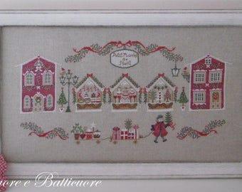 PDF Petite Marché de Noel counted cross stitch patterns by Cuore e Batticuore Italian Christmas Market Santa Claus embroidery