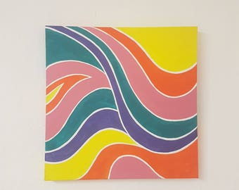 Psychedelic Pattern Acrylic Painting on Canvas