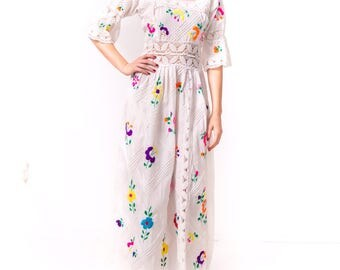 1960's Mexican Wedding Dress/ 60's Crocheted Floral Maxi Dress