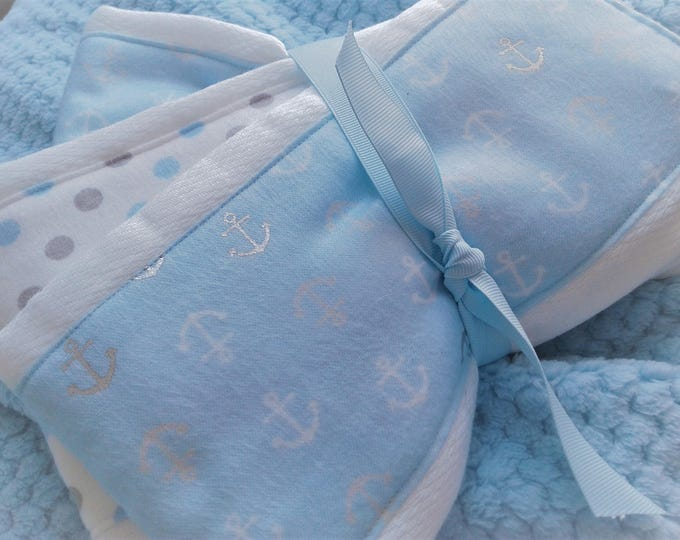 Baby Boy Newborn Blue Anchor burp cloth set