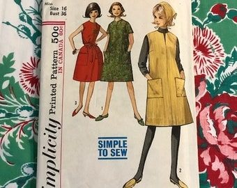 Vintage 1963 Simplicity Dress / Jumper and Scarf Pattern 5248, Mod, Mid Century