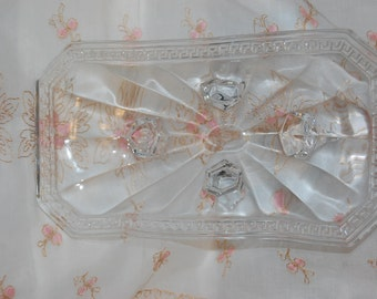 Art Deco U.S. Glass Company Signed Glass Dish Dish Nut or Candy Dish Trade Marked Signature 1920's