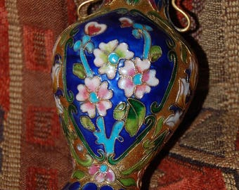 Chinese Cloisonne Vase Blue and Floral Cloisonne on Copper Gold Gilding