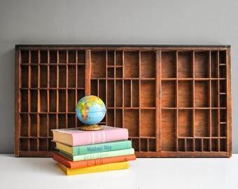 Large Vintage Wooden Letterpress Drawer - Rustic Decor