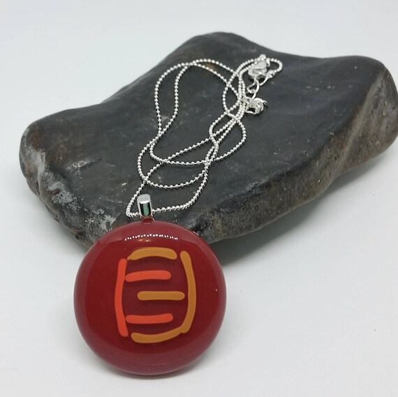 Rose Glass Pendant with Silver Chain
