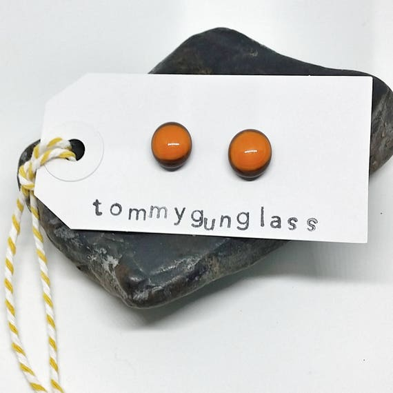 Orange and Brown Glass Stud Earrings