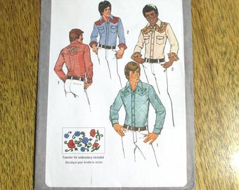 Men's VINTAGE Slim Fit Cowboy Shirt w/ Embroidery Transfers - Size (38 - 40) - UNCUT ff Sewing Pattern Simplicity 9746