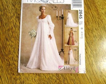 Elegant Medieval Wedding Gown w/ Detachable Train (Empire Line Bridal Dress) - Size (8 - 10 - 12) - UNCUT ff Sewing Pattern McCalls 2645