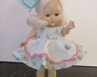 "Ginny Doll Floral Blue Dress 8"" Doll Dress Muffie Dress Doll Ginny Doll Dress with Apron"
