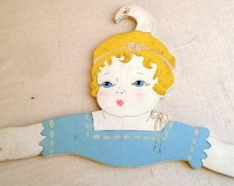Vintage 1920s Hand Panted Childs Face Decorative Wooden Hanger