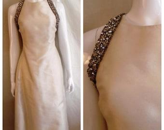 Vintage Malcolm Starr Designer Formal 1960s Silk Beaded Dress Jackie O