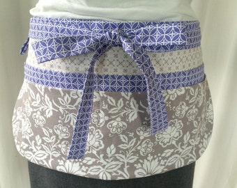 Utility Apron/Teacher Apron with 8 pockets and loop in grey white lavender floral and circles