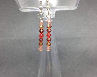 Swarovski Bead Earrings - Orange