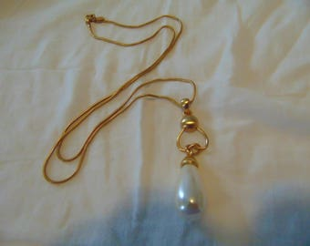 vintage anne klein gold plated pearl bud pendant necklace