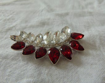 vintage, rare ysl clear red swarovski crystals brooch silver signed new