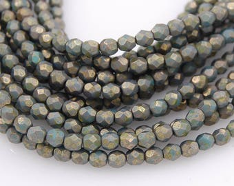 Copper Picasso Turquoise Czech Glass Firepolished 4mm Beads -50