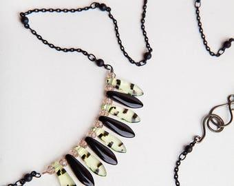 Black Chain Necklace, Green, Copper, Black, Chain Necklace, Dagger Necklace, One of a Kind Necklace, Green Black Necklace, Glass Necklace