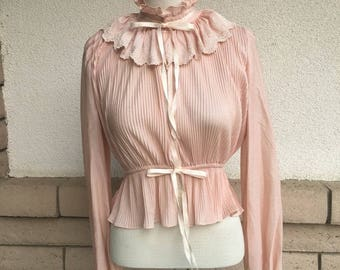 Vintage 80s Victorian Pleated Peplum Blouse Poet Sleeves Size Small