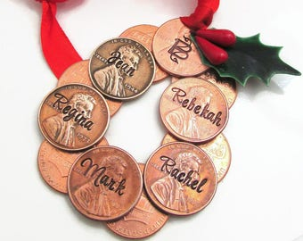 Personalized Ornament, Hand Stamped Family Ornament, Christmas Ornament, Personalized Ornament, Penny Wreath Ornament, Personalized Penny