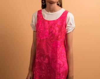 60s Hawaiian Floral Dress / Floral Mini Dress / Jumper Dress / A-line Mini Dress Δ size: M