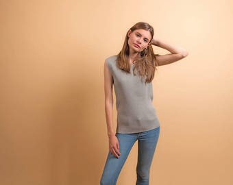 60s Ribbed Top / Vintage Minimalist Top / Simple Ribbed Top / Tunic Top Δ size: M/L