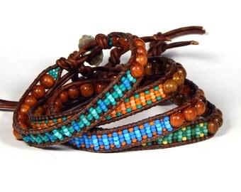 Bead Loom Leather Wrap Bracelet Friendship Bracelet Assorted Colors Seed Bead Wood Bead Bracelet Aerieannas Wristcraft Boho Bracelet