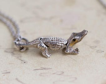 Crocodile Necklace - Sterling Silver Aligator Pendant on Chain - Vintage Quirky Jewelry