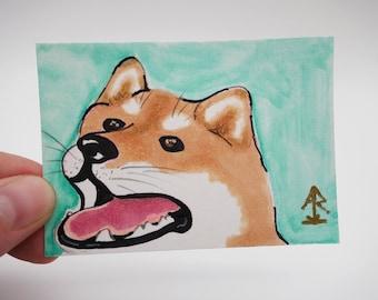Shiba Inu #3 - tiny original painting, copic illustration, watercolor painting, mini painting, dog painting, kawaii Shiba Inu ACEO ATC, OOAK
