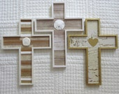 Wooden Cross Wood Cross Christian Wall Decor Nursery Decor Beach Decor Chippy Paint Beadboard Shells